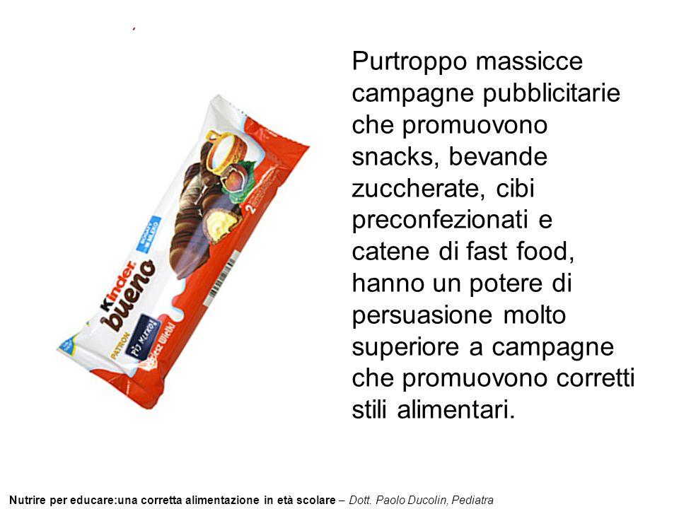 Purtroppo massicce campagne pubblicitarie che promuovono snacks, bevande zuccherate, cibi preconfezionati e catene di fast food, hanno un potere di persuasione molto superiore a campagne che promuovono corretti stili alimentari.