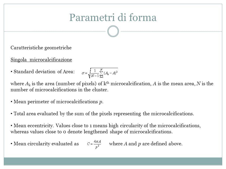 Parametri di forma Caratteristiche geometriche