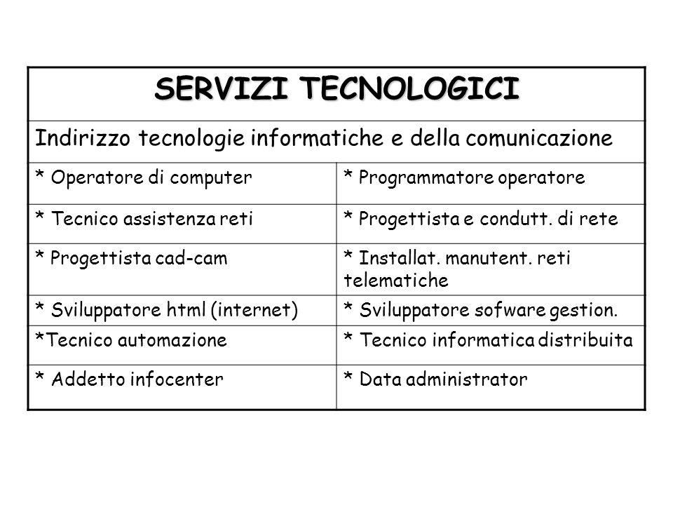 SERVIZI TECNOLOGICI Indirizzo tecnologie informatiche e della comunicazione. * Operatore di computer.