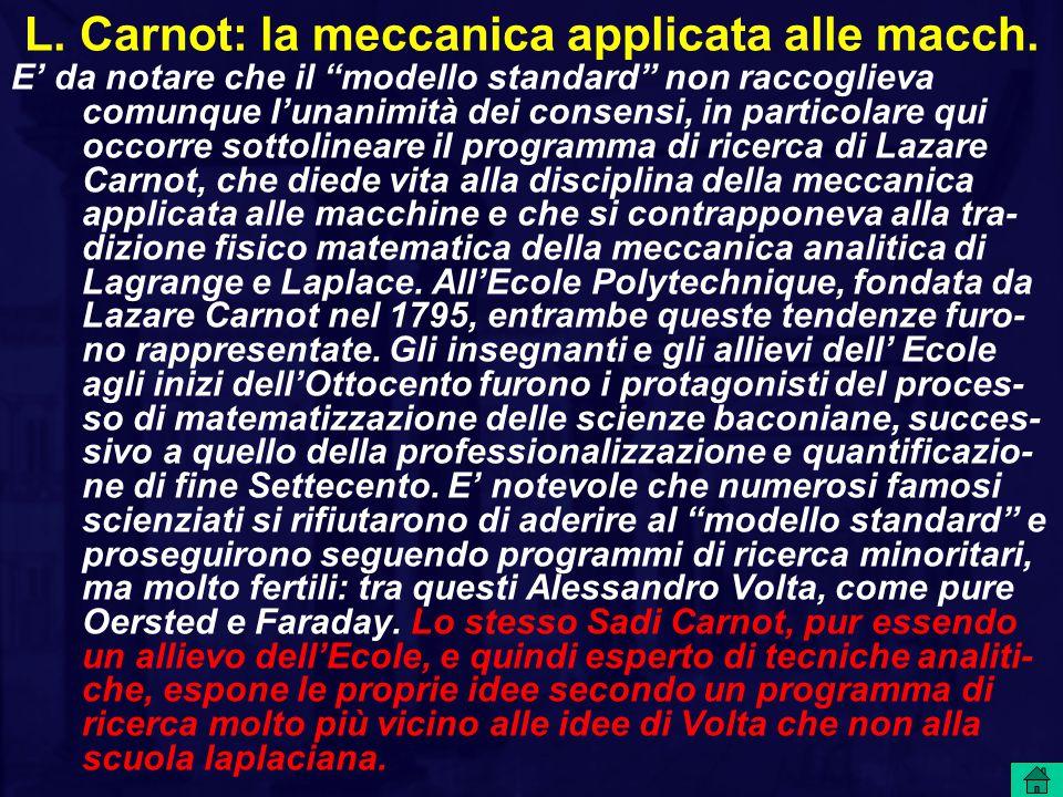 L. Carnot: la meccanica applicata alle macch.