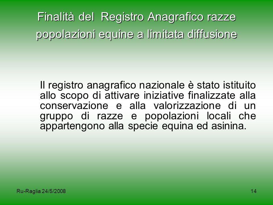 Finalità del Registro Anagrafico razze popolazioni equine a limitata diffusione
