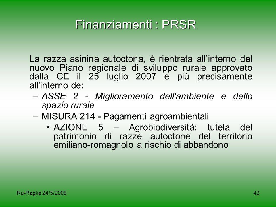 Finanziamenti : PRSR