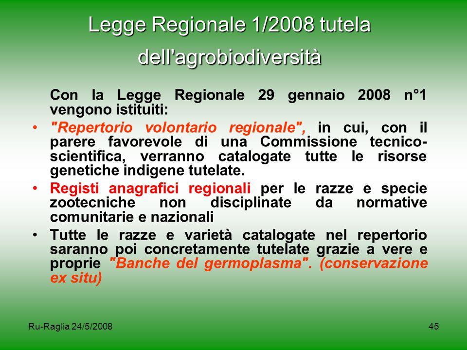 Legge Regionale 1/2008 tutela dell agrobiodiversità