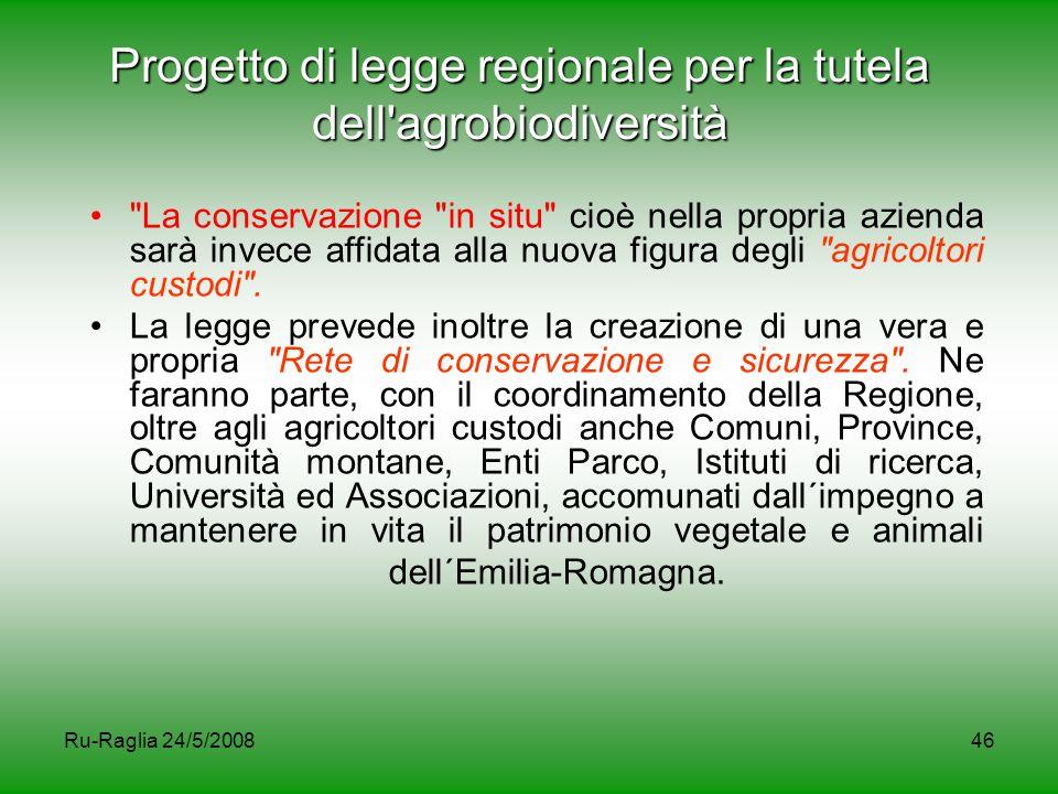 Progetto di legge regionale per la tutela dell agrobiodiversità