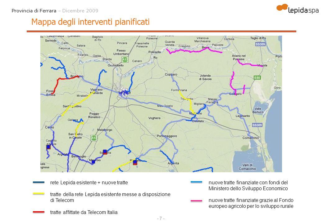 Mappa degli interventi pianificati
