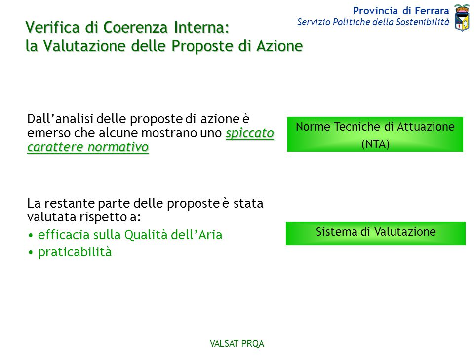 Verifica di Coerenza Interna: la Valutazione delle Proposte di Azione