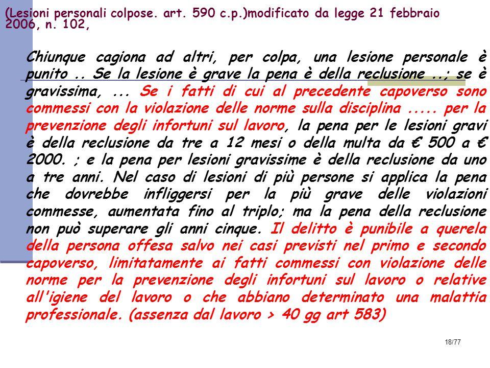 (Lesioni personali colpose. art. 590 c. p