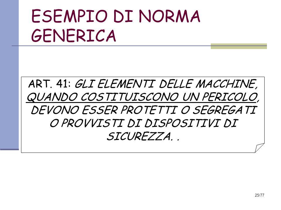 ESEMPIO DI NORMA GENERICA