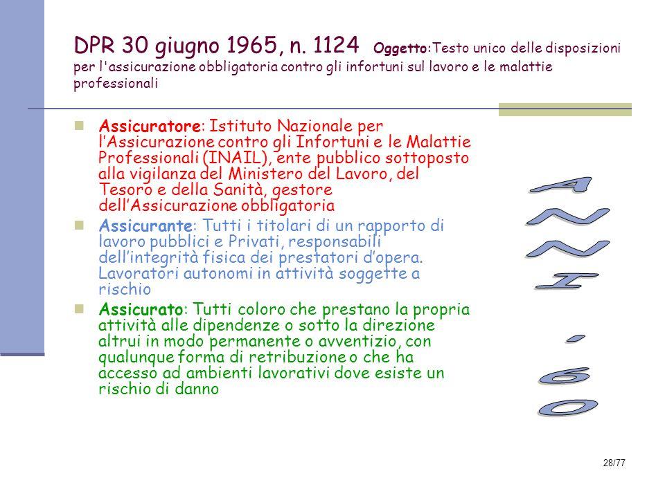 DPR 30 giugno 1965, n. 1124 Oggetto:Testo unico delle disposizioni per l assicurazione obbligatoria contro gli infortuni sul lavoro e le malattie professionali