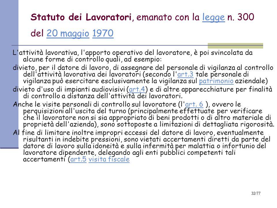 Statuto dei Lavoratori, emanato con la legge n. 300 del 20 maggio 1970