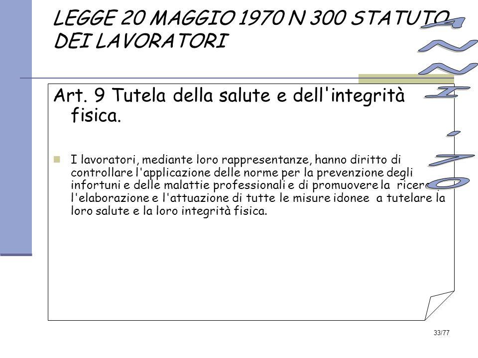 LEGGE 20 MAGGIO 1970 N 300 STATUTO DEI LAVORATORI