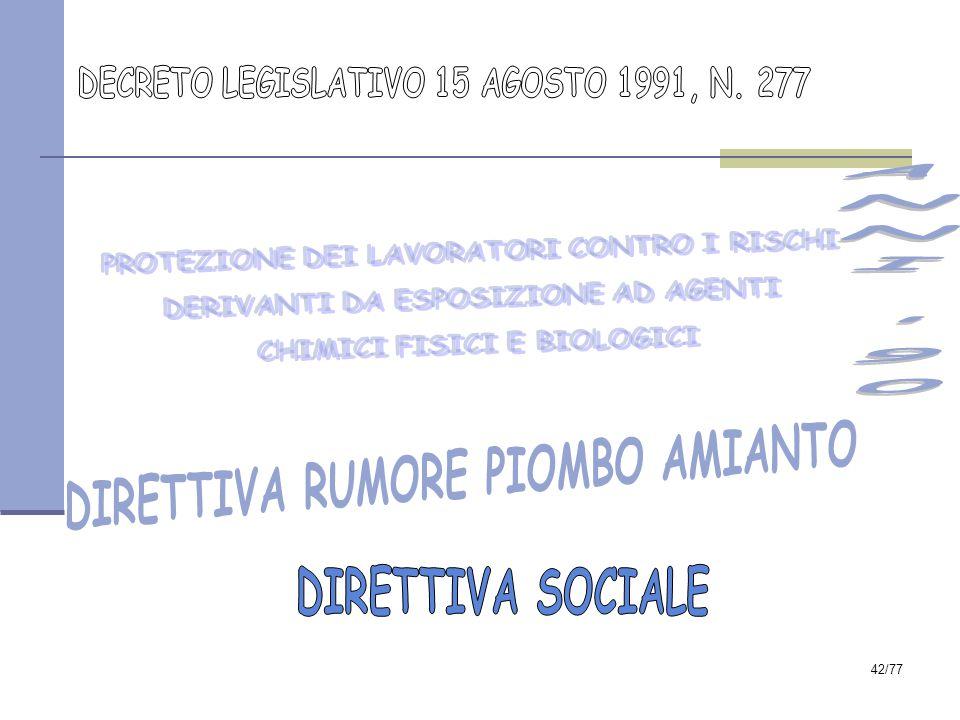 ANNI 90 DIRETTIVA RUMORE PIOMBO AMIANTO DIRETTIVA SOCIALE