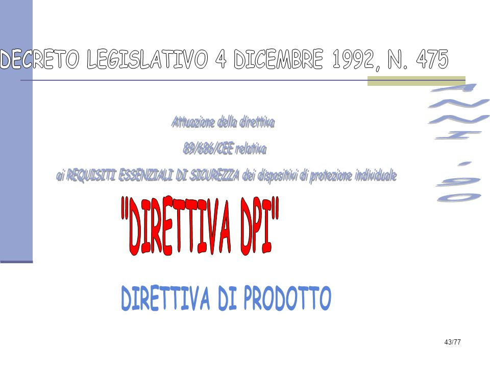 DECRETO LEGISLATIVO 4 DICEMBRE 1992, N. 475 Attuazione della direttiva