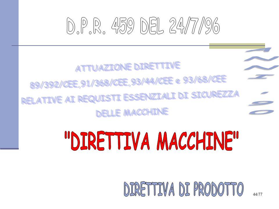 ANNI 90 DIRETTIVA MACCHINE D.P.R. 459 DEL 24/7/96
