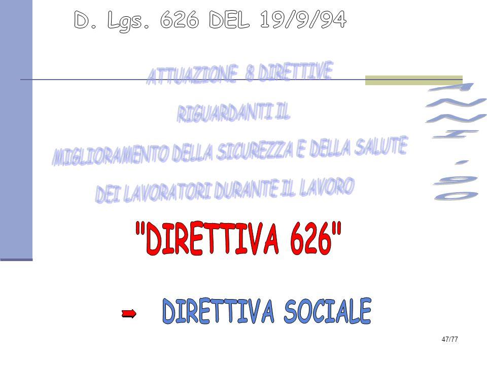 ANNI 90 DIRETTIVA 626 D. Lgs. 626 DEL 19/9/94 DIRETTIVA SOCIALE