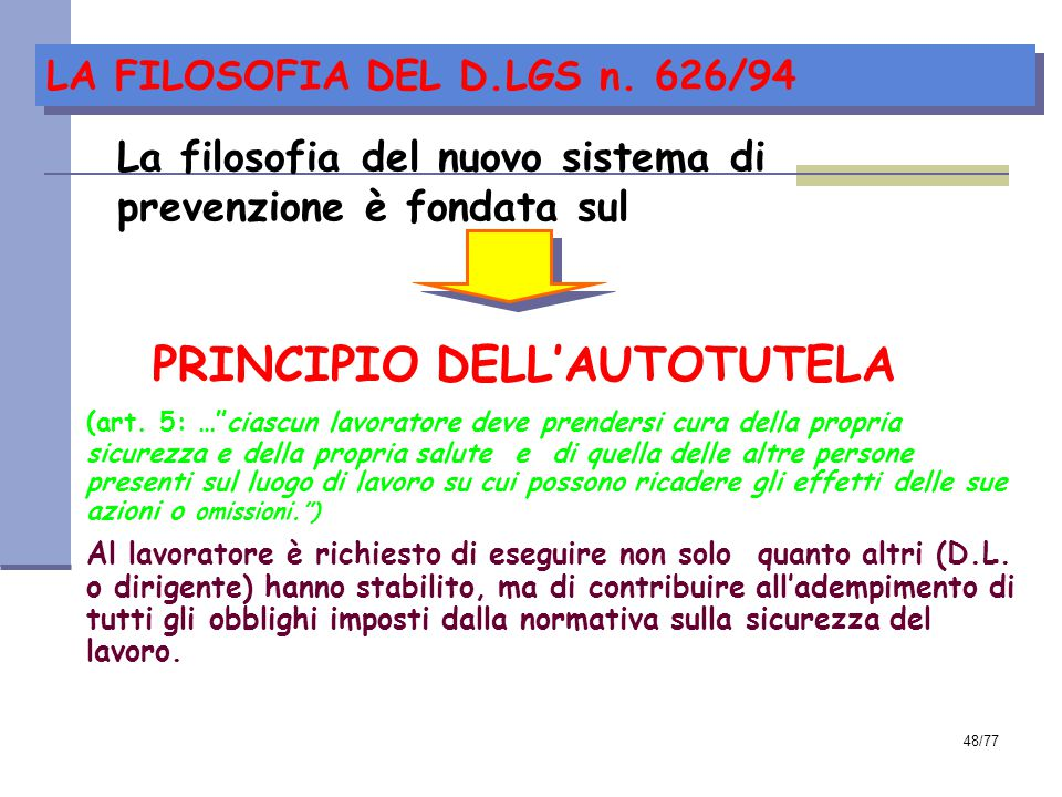 LA FILOSOFIA DEL D.LGS n. 626/94