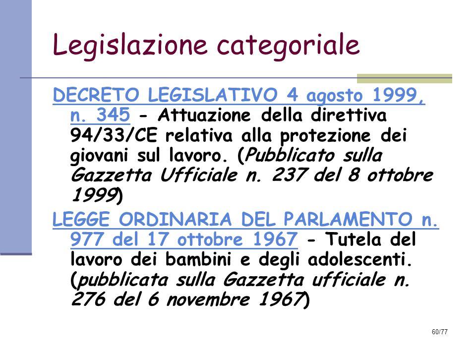 Legislazione categoriale