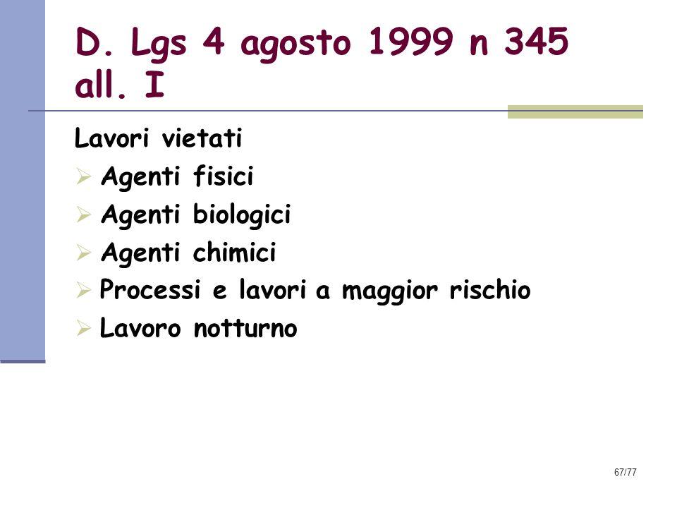 D. Lgs 4 agosto 1999 n 345 all. I Lavori vietati Agenti fisici