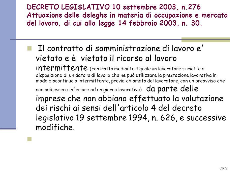 DECRETO LEGISLATIVO 10 settembre 2003, n