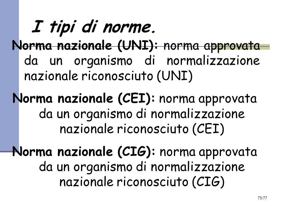 I tipi di norme. Norma nazionale (UNI): norma approvata da un organismo di normalizzazione nazionale riconosciuto (UNI)