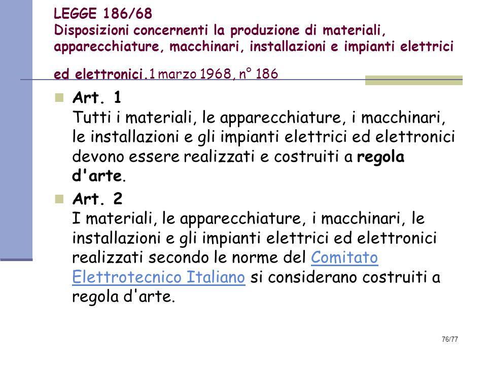 LEGGE 186/68 Disposizioni concernenti la produzione di materiali, apparecchiature, macchinari, installazioni e impianti elettrici ed elettronici.1 marzo 1968, n° 186