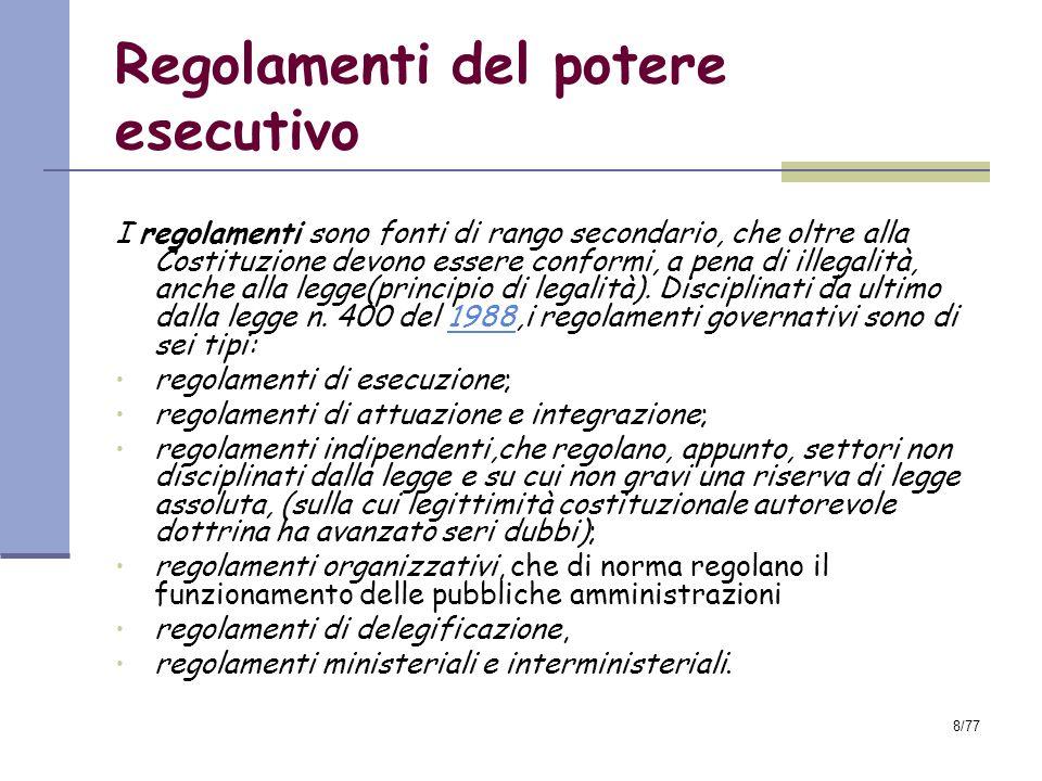Regolamenti del potere esecutivo