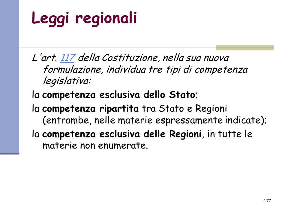 Leggi regionali L art. 117 della Costituzione, nella sua nuova formulazione, individua tre tipi di competenza legislativa:
