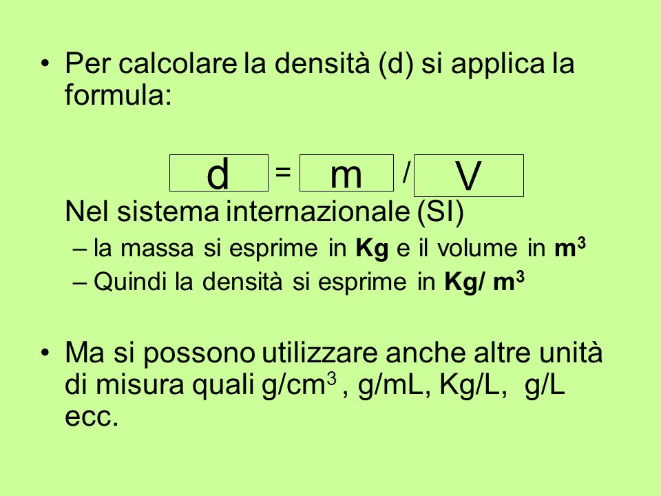 Massa volumica formula