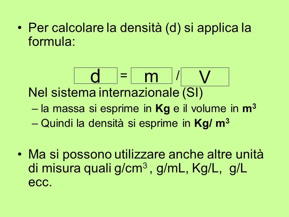 d m V Per calcolare la densità (d) si applica la formula: