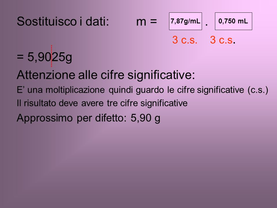 Sostituisco i dati: m = d . V 3 c.s. 3 c.s. = 5,9025g