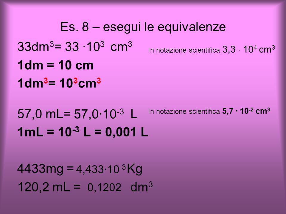 Es. 8 – esegui le equivalenze