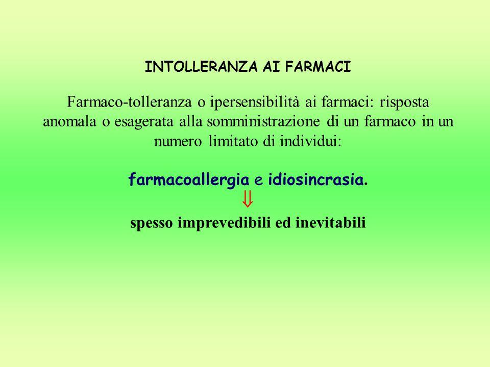 INTOLLERANZA AI FARMACI spesso imprevedibili ed inevitabili