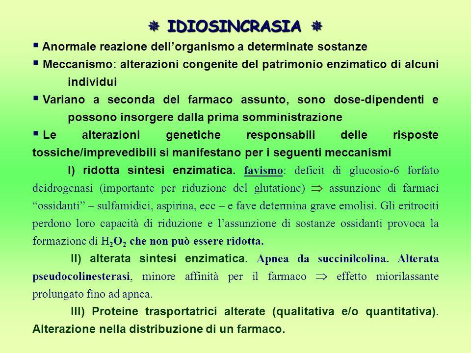  IDIOSINCRASIA  Anormale reazione dell'organismo a determinate sostanze.