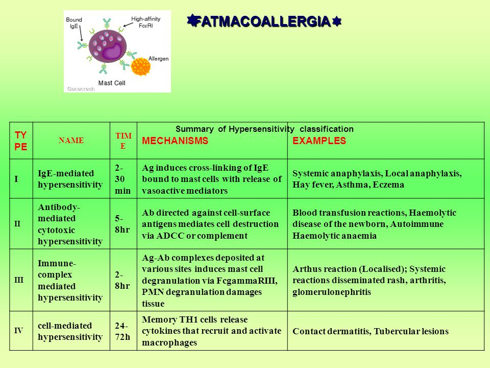 FATMACOALLERGIA TYPE MECHANISMS EXAMPLES I