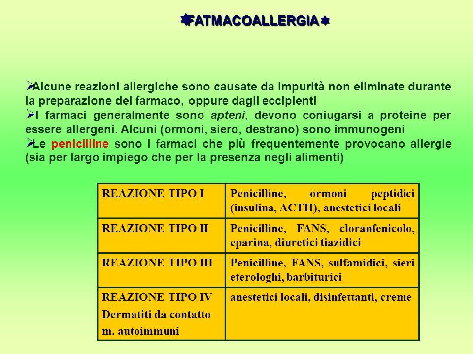 FATMACOALLERGIA Alcune reazioni allergiche sono causate da impurità non eliminate durante la preparazione del farmaco, oppure dagli eccipienti.