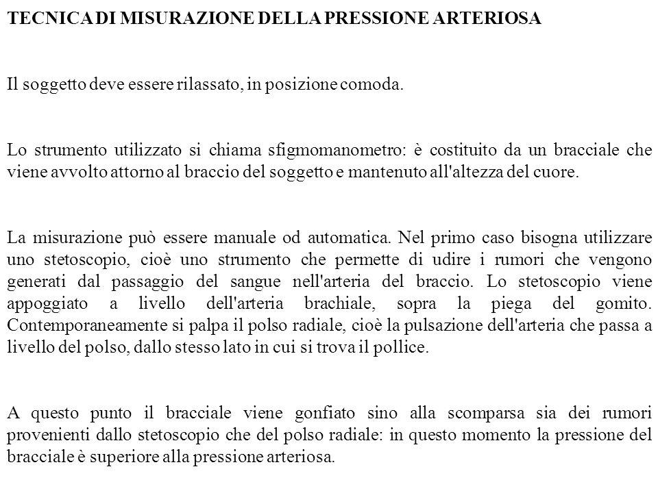 TECNICA DI MISURAZIONE DELLA PRESSIONE ARTERIOSA