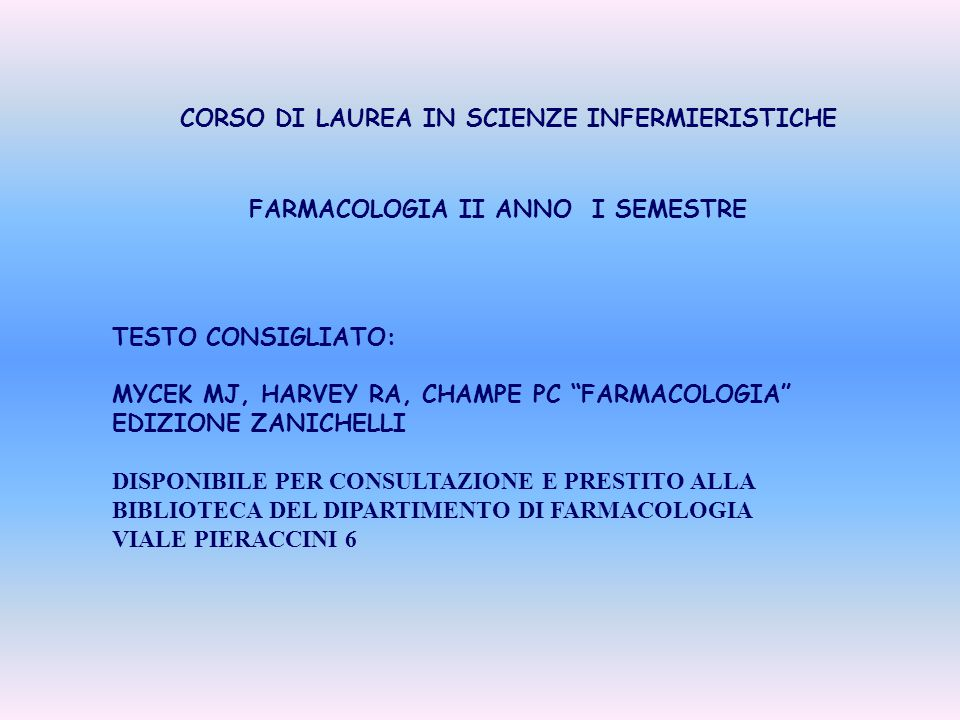 CORSO DI LAUREA IN SCIENZE INFERMIERISTICHE