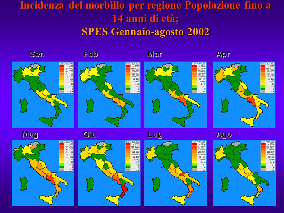 Incidenza del morbillo per regione Popolazione fino a 14 anni di età; SPES Gennaio-agosto 2002
