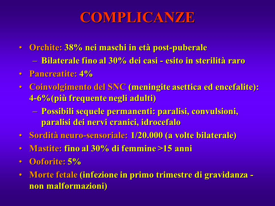 COMPLICANZE Orchite: 38% nei maschi in età post-puberale
