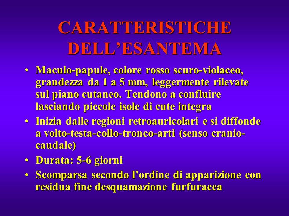 CARATTERISTICHE DELL'ESANTEMA
