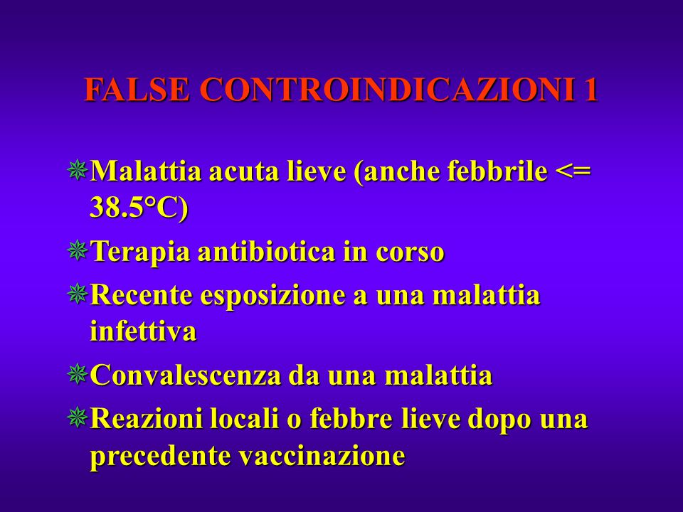 FALSE CONTROINDICAZIONI 1