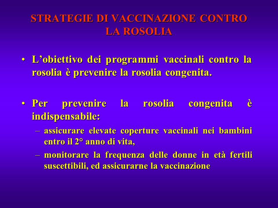 STRATEGIE DI VACCINAZIONE CONTRO LA ROSOLIA