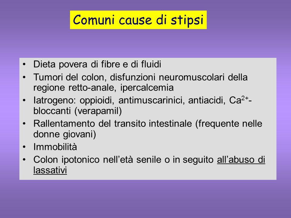 Comuni cause di stipsi Dieta povera di fibre e di fluidi