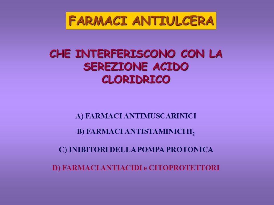 FARMACI ANTIULCERA CHE INTERFERISCONO CON LA SEREZIONE ACIDO CLORIDRICO. A) FARMACI ANTIMUSCARINICI.