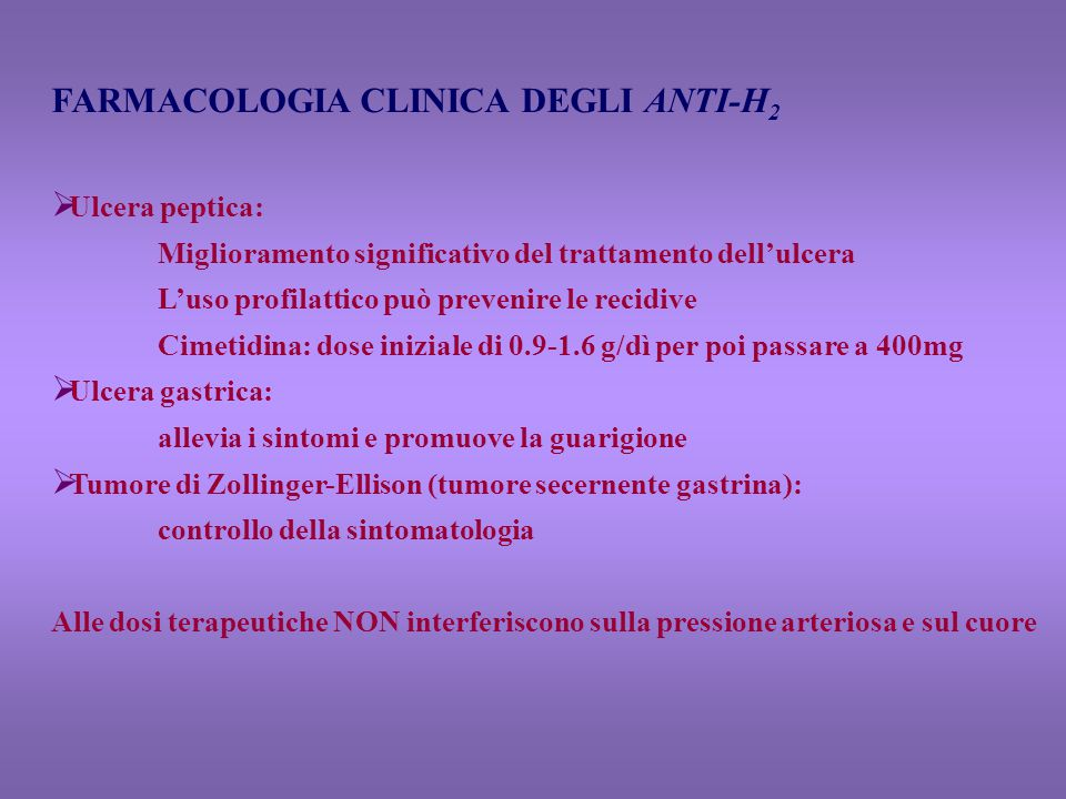 FARMACOLOGIA CLINICA DEGLI ANTI-H2