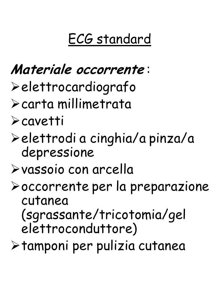 ECG standard Materiale occorrente : elettrocardiografo. carta millimetrata. cavetti. elettrodi a cinghia/a pinza/a depressione.
