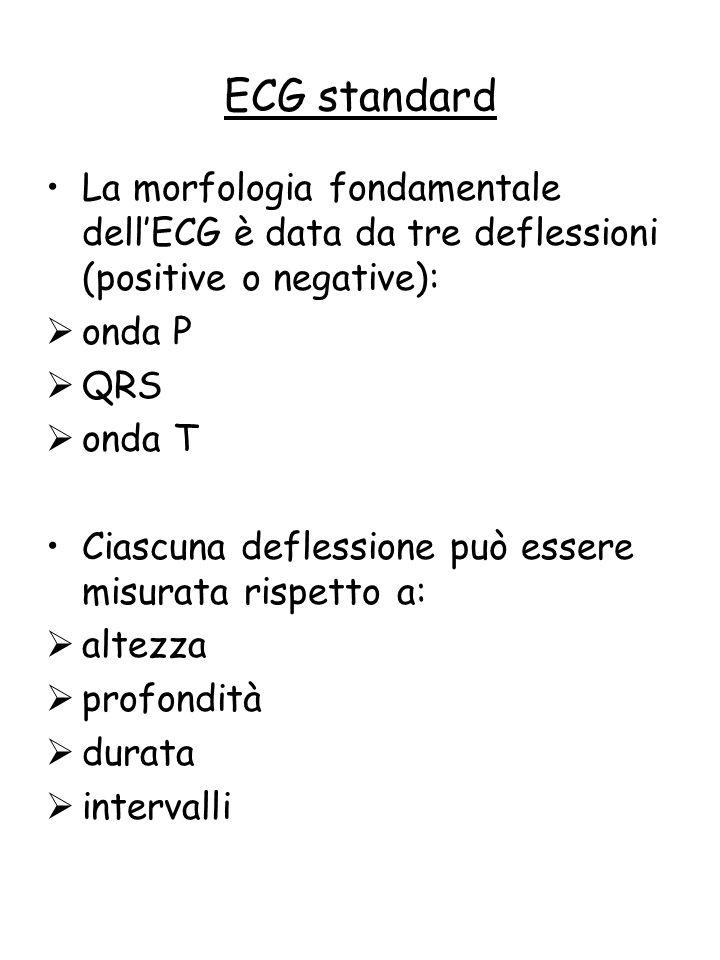 ECG standard La morfologia fondamentale dell'ECG è data da tre deflessioni (positive o negative): onda P.