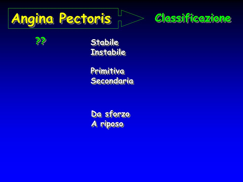 Angina Pectoris Classificazione Stabile Instabile Primitiva