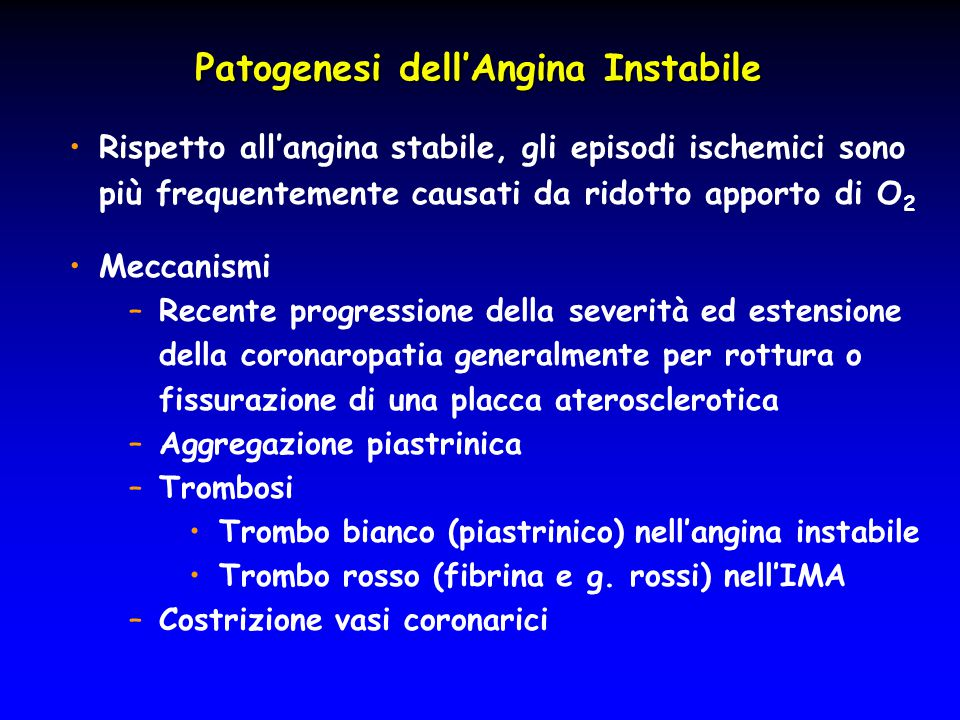 Patogenesi dell'Angina Instabile