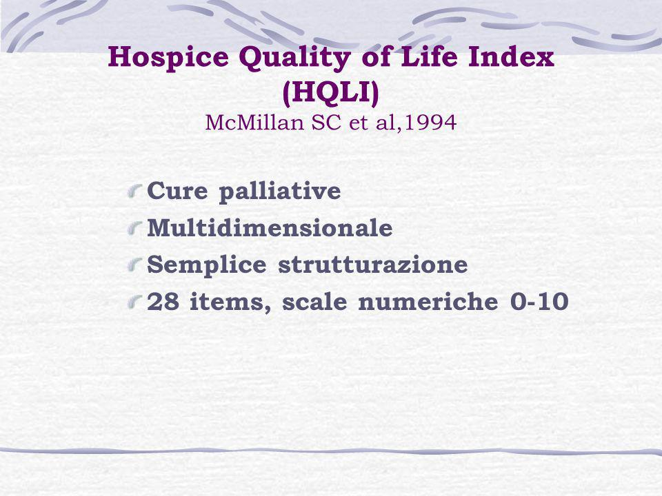 Hospice Quality of Life Index (HQLI) McMillan SC et al,1994